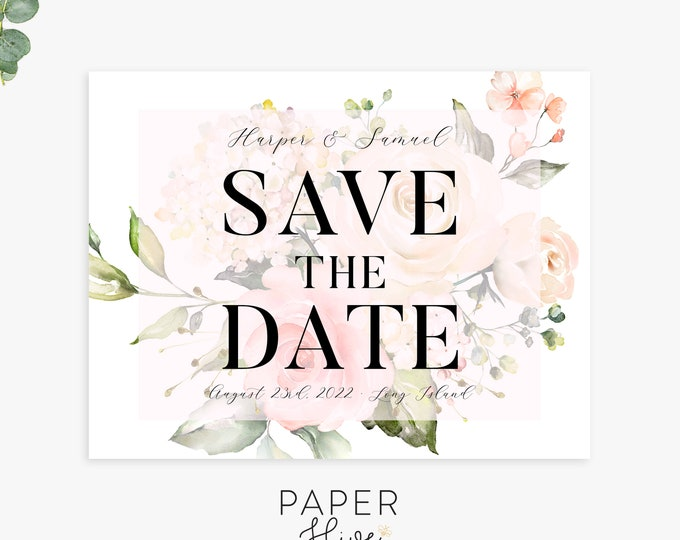 floral save the date cards, save the date magnets, postcards, wedding announcement, printed cards