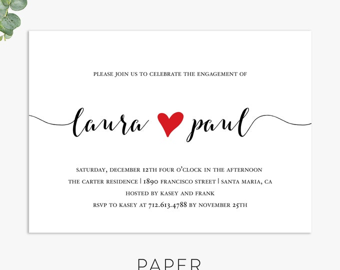 modern engagement party invitations, couples shower invitation, engagement shower, wedding shower digital file, printed invites