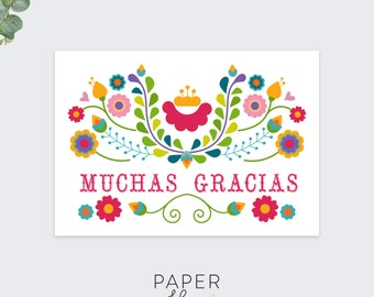 muchas gracias thank you cards / thank you card set / pack of 10 cards