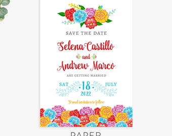 fiesta floral save the date cards, mexican wedding save the date magnets, postcards, printed wedding announcements, digital printable file