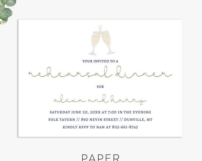Champagne Rehearsal Dinner Invitation, Modern rehearsal dinner invite, digital file, printed invites