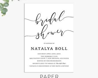 calligraphy bridal shower invitations, modern shower invite, elegant minimalist invitation template digital file,  printed invites