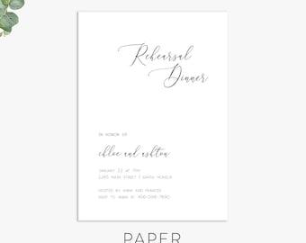 Text Rehearsal Dinner Invitation, modern minimalist rehearsal dinner invite, digital file, printed invites