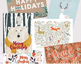 holiday card variety pack / christmas card pack / 8 card set
