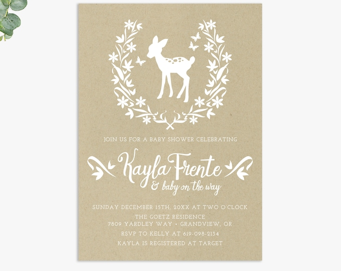 rustic woodland baby shower invitations, forest theme baby shower, printable digital template or printed invites