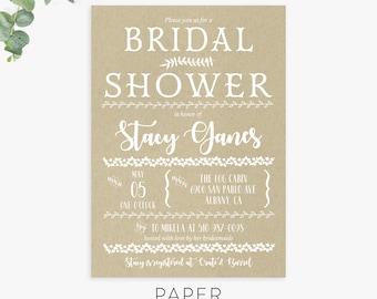 rustic bridal shower invitations, unique bridal shower invite, printable template, printed invites, digital file