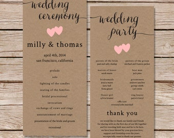 Rustic Wedding Program Fall Printable File Or Printed Cards