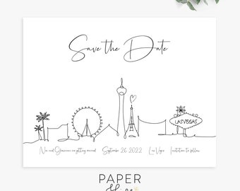 las vegas minimal save the date cards, save the date magnets, postcards, wedding announcement, printed cards