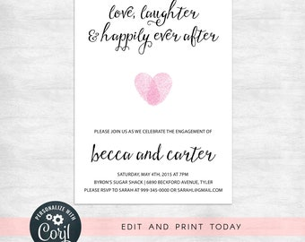 modern engagement party invitation template, instant download invitations
