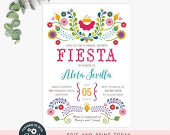 Fiesta bridal shower invitations  / wedding shower template / instant digital file, editable invite