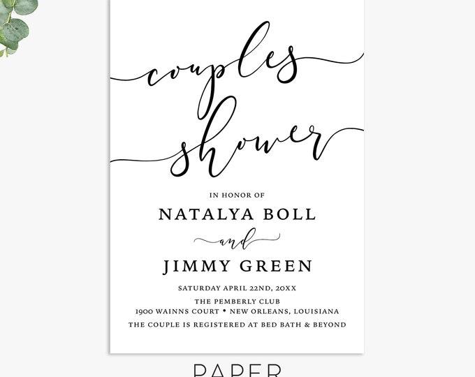 calligraphy couples shower invitations, engagement party invite, elegant wedding shower invitation template, digital file, printed invites