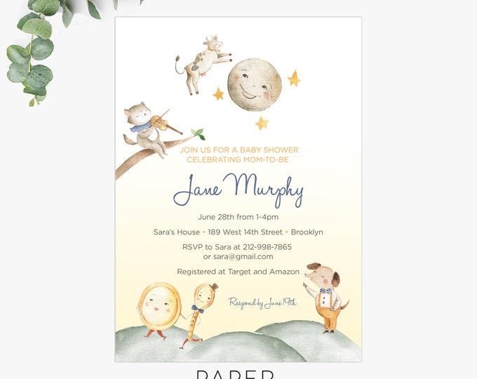 nursery rhyme baby shower invitation /  whimsical baby shower invites / gender neutral baby shower / invitation template
