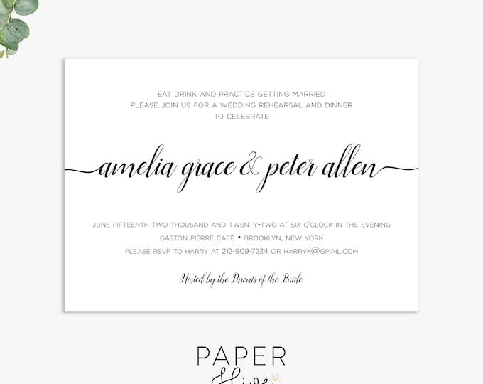 simple rehearsal dinner invitations, minimalist wedding rehearsal invite, elegant rehearsal dinner template digital file, printed invites