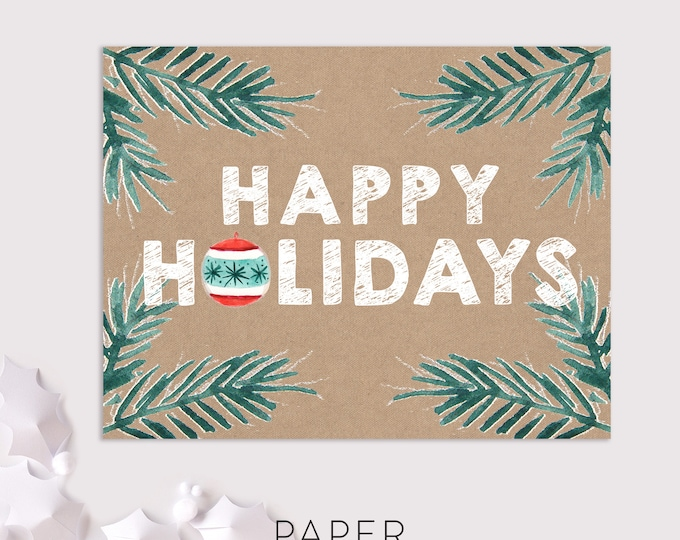 rustic happy holidays cards / woodland christmas cards / 8 pack card set