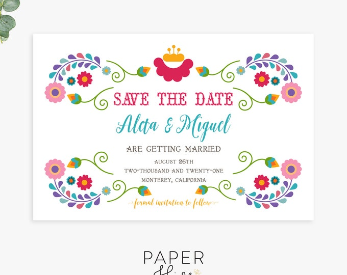 fiesta save the date magnet postcard flat cards, mexican wedding save the dates, printed save the dates