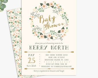 floral baby shower invitations, girl baby shower, printable digital template or printed invites