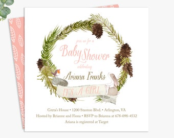 winter baby shower invitations / baby girl woodland shower invites / gender neutral baby shower / digital file or printed invitations