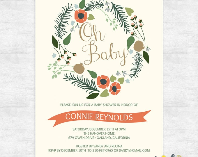 floral wreath baby shower invitations / gender neutral baby shower invitations / rustic baby shower / printable invitation template
