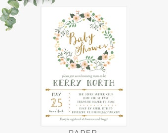 floral wreath baby shower invitations, baby shower invitation template, digital download, printable invite