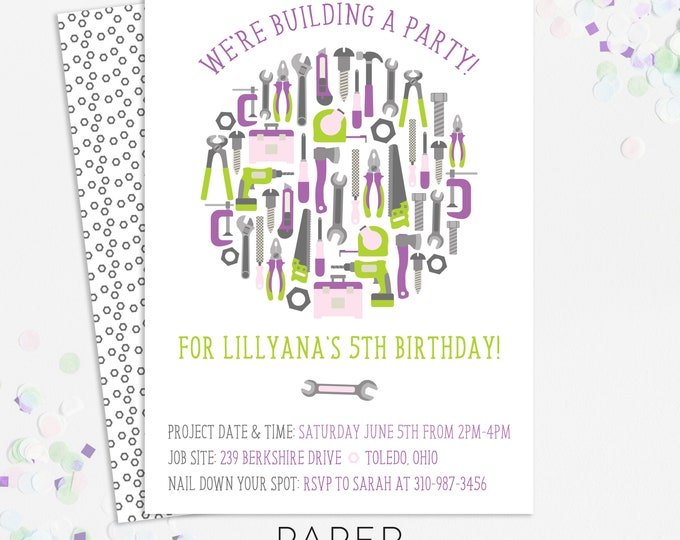 tool birthday party invitations, girl birthday party invites, printable template, printed invites, digital file