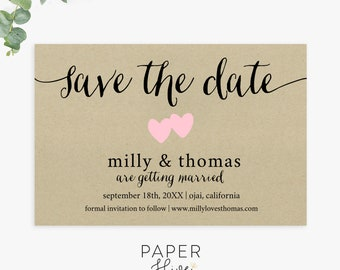 Rustic Save the Date cards / kraft save the dates / printable / digital template / printed cards