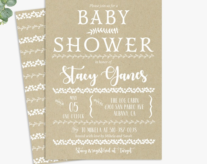 rustic floral baby shower invitations, shabby chic baby shower, printable digital template or printed invites