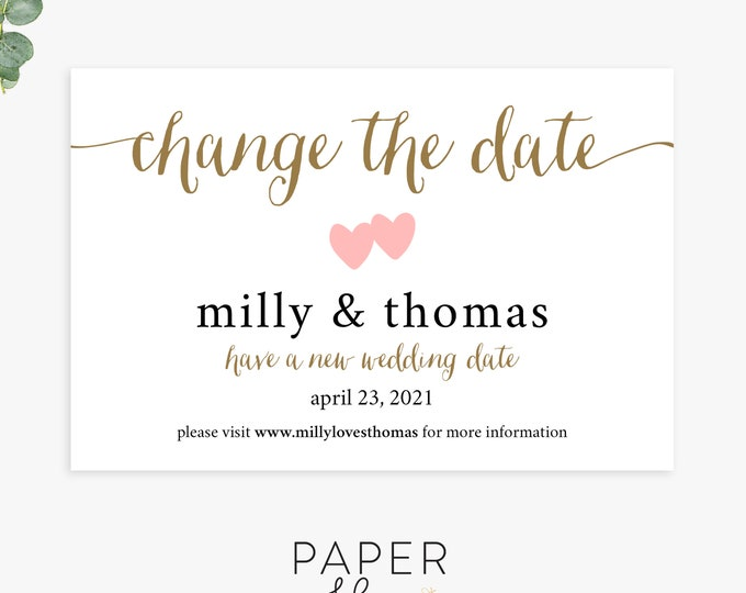 change the date wedding cards, save the new date, wedding postponement announcements, printable or printed cards