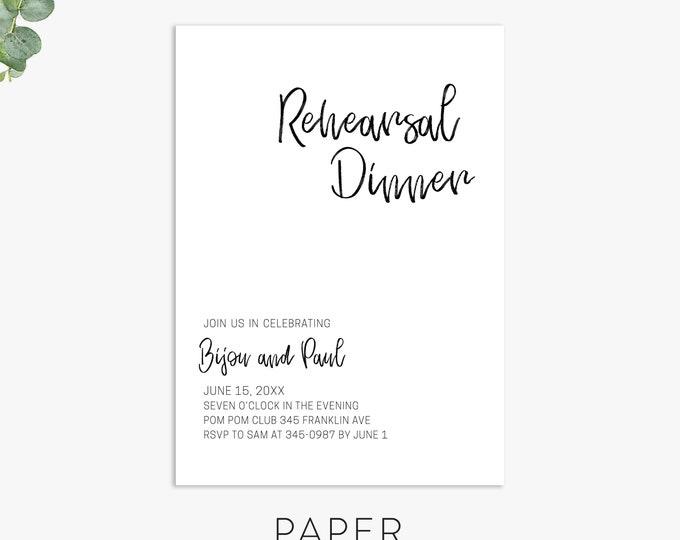 Modern text Rehearsal Dinner Invitation, minimalist rehearsal dinner invite, digital file, printed invites