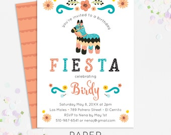fiesta piñata birthday party invitations, kids party invites, printable template, printed invites, digital file