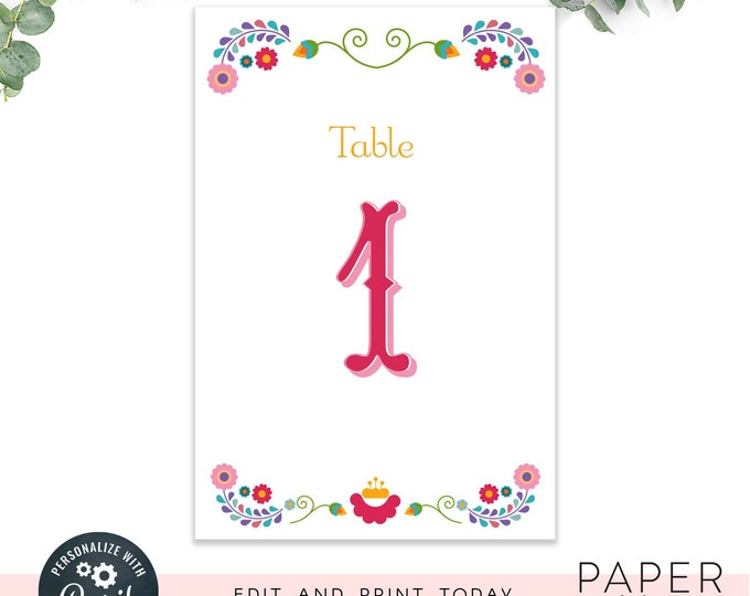 Editable table numbers / fiesta table numbers / 4x6 wedding or party table numbers /  instant digital file, editable instant download