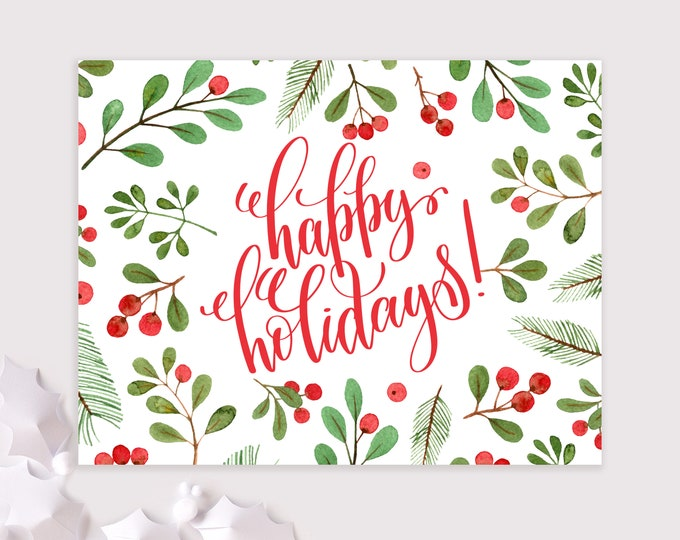 happy holidays card set / winter greenery christmas cards / 8 card set