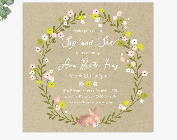 Sip and See baby shower invitations / rustic sip and seeinvites /  digital file or printed invitations