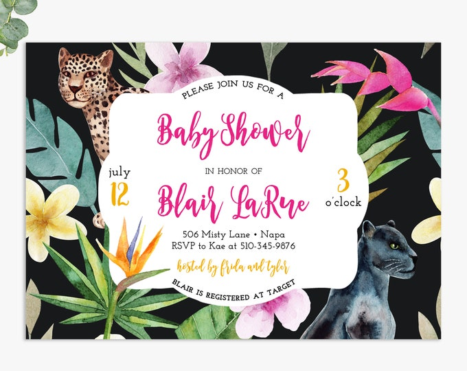 jungle baby shower invitations, lux tropical baby shower invites, printable digital template or printed invites