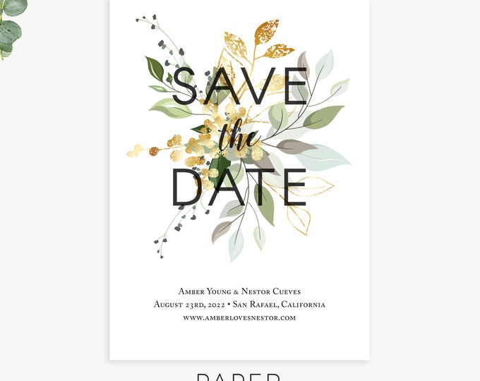 greenery save the date cards, green and gold save the date magnets, postcards, wedding announcement, printed cards