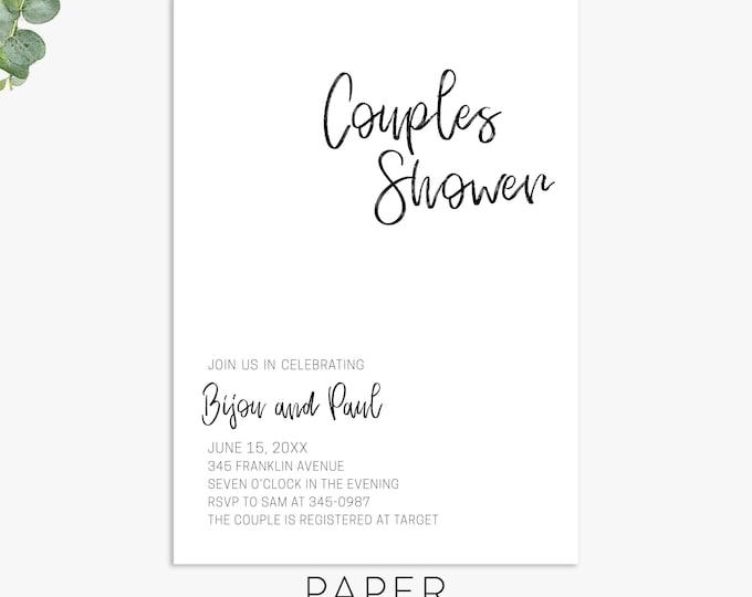 minimalist couples shower invitations, simple shower invite, elegant wedding shower invitation template, digital file, printed invites