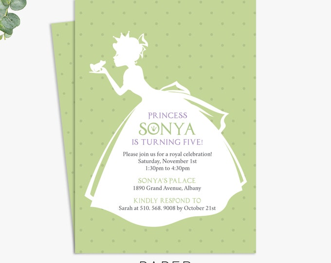 princess and the frog birthday party invitations / printed invitations / princess party invites