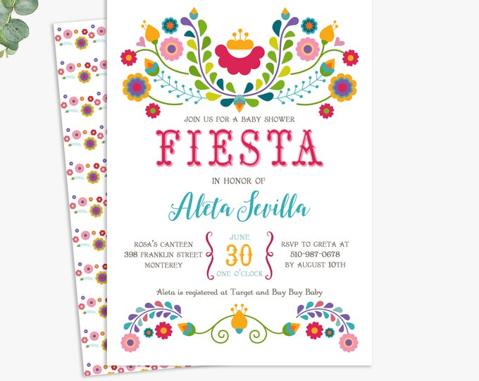 Fiesta baby shower invitations, fiesta themed baby shower invites, printable digital template or printed invites