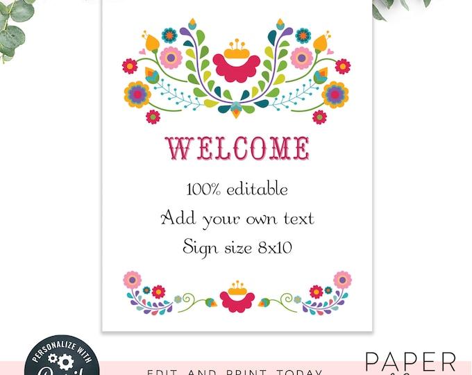 Custom Fiesta Wedding or shower sign / editable fiesta sign / INSTANT DOWNLOAD / 8x10 sign Printable, Editable Template
