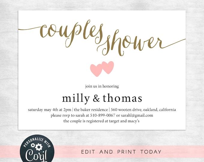 couples shower party invitations / engagement party invitation template / invitation template instant download / DIY bride
