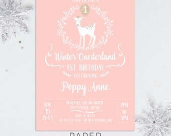winter onederland first birthday party invitations, girl winter birthday party invites, printable template, printed invites, digital file