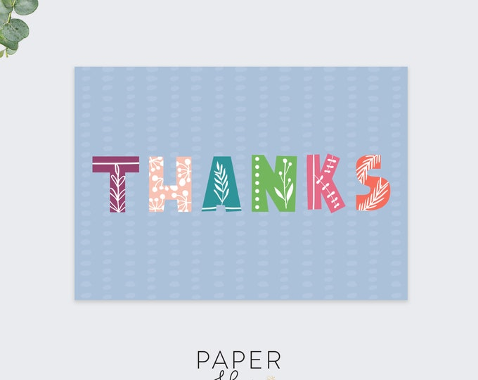 floral thank you cards / thanks card / greeting card set / pack of 10 cards