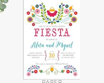 Fiesta invitation / Fiesta couples shower invitations / cinco de mayo wedding  / printable digital file / printed invitations