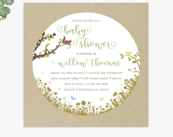 woodland baby shower invitations / rustic baby shower invites / gender neutral baby shower / digital file or printed invitations