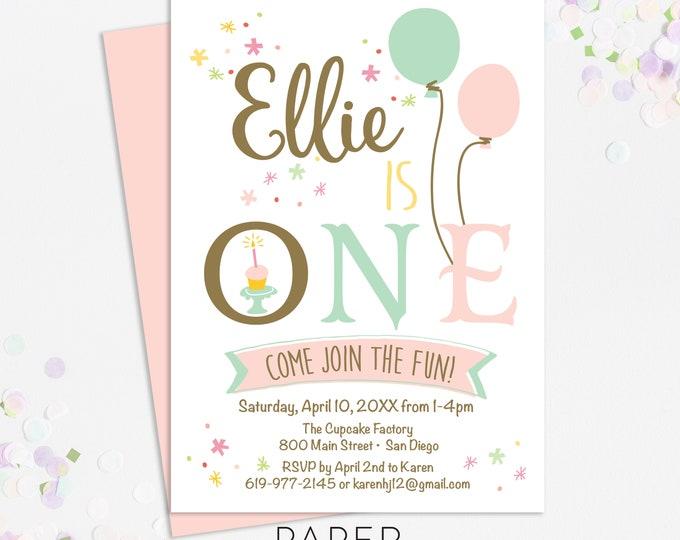 festive first birthday party invitations, pastel birthday party invites, printable template, printed invites, digital file