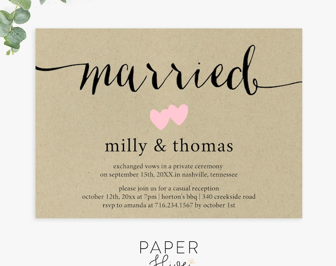 Rustic Elopement cards, kraft invitation, wedding announcements, just married, reception invitations