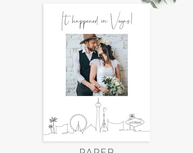 Photo Wedding Announcement, Photo Elopement Announcement, Las Vegas Elopement, Minimalist Elopement Card, Reception invitation