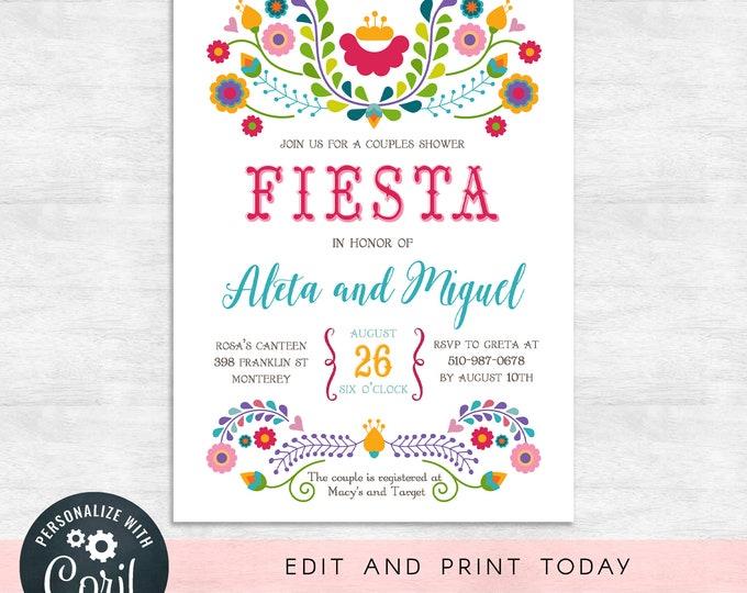 Fiesta couples shower invitations / fiesta invitation / wedding shower invites / INSTANT DOWNLOAD / Printable, Editable Template