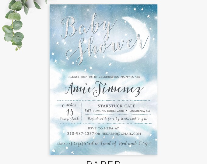 Twinkle Twinkle Little Star baby shower invitations / moon and stars baby shower invitation / celestial shower invite / printed invites