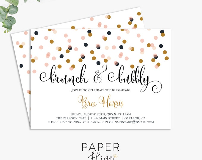 brunch and bubbly bridal shower invitations, unique bridal shower invite, printed invites, digital file, invitation template