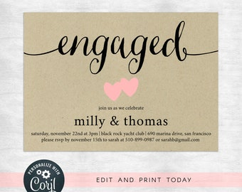 Engagement party invitation template / printable / instant download / Printable, Editable Template